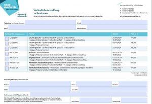 Anmeldeformular zu den Seminaren der neuen akademie des bbw Südhessen
